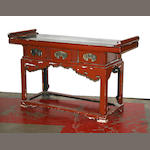 An Asian lacquered altar table