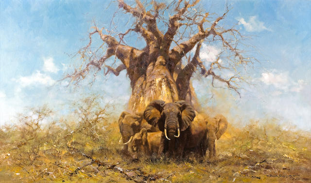 David Shepherd, O.B.E. (British, born 1931) A herd of elephants under a baobab tree 20 x 34in (50.9 x 86.3cm)