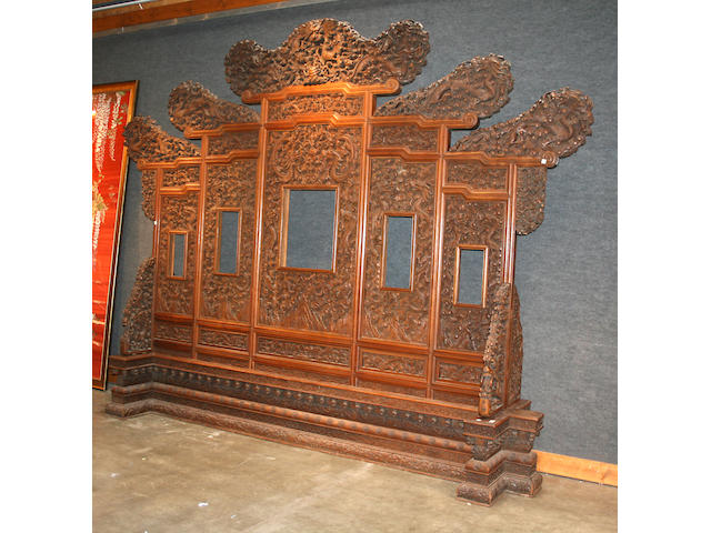 A massive carved wood floor screen Late Qing Dynasty