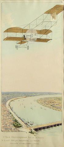 '1er Raid Paris-Bordeaux', hand colored lithograph after Gamy,