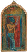 Alison Saar, Puerta roja, 1987, mixed media on panel, Provenance: Jan Baum Gallery