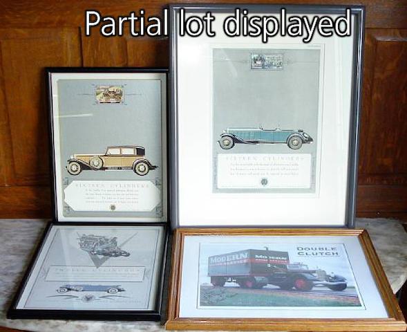 A quantity of framed automotive prints,