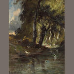 Peter Manzoni   Wooded landscape with ducks   17 x 12 1/2