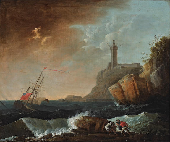 Manner of Claude Joseph Vernet A rocky coastal landscape with a ship in distress and figures in the foreground 24 1/4 x 29 1/4in (61.5 x 74.3cm)