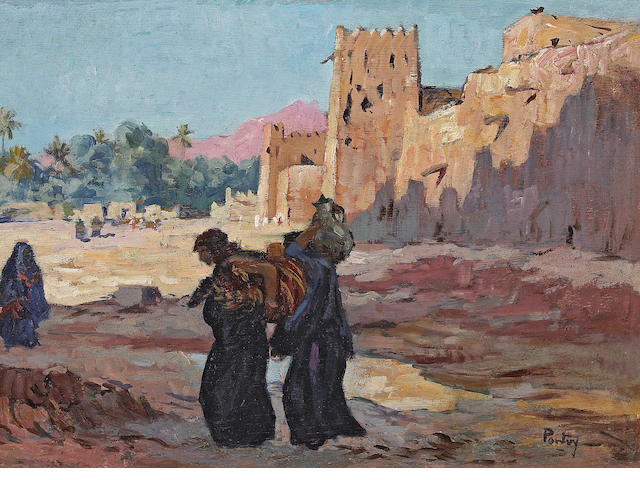 Henri Jean Pontoy (French, 1888-1968) Arab figures outside a walled town 18 1/4 x 24in (46.3 x 61cm)