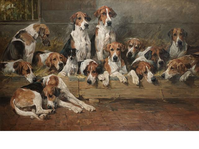John Emms (British 1843-1912) New Forest Foxhounds 41 x 62 in. (104 x 157.5 cm.)