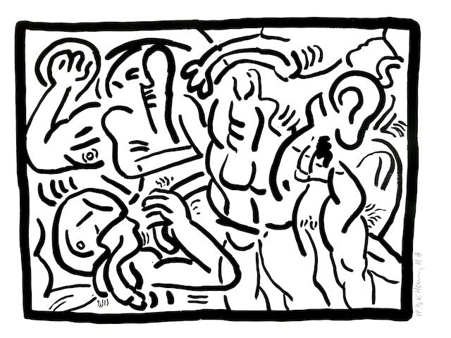 Keith Haring (American, 1958-1990); Bad Boys 5;