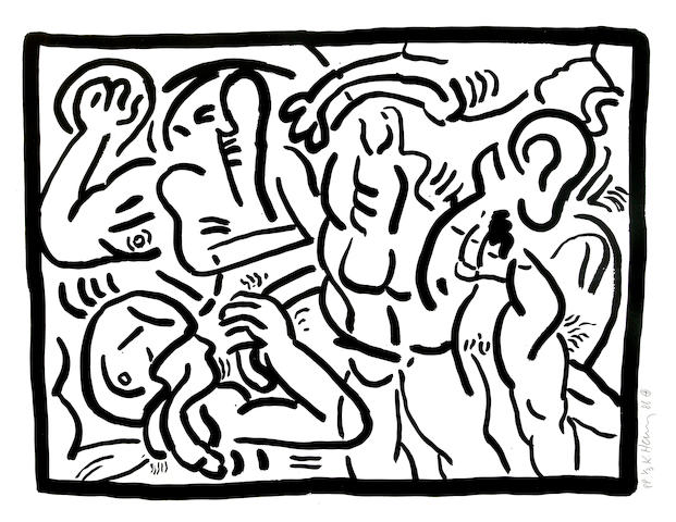 Keith Haring (American, 1958-1990); Bad Boys 5;