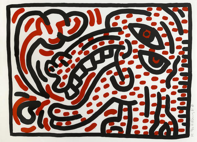 Keith Haring (American, 1958-1990); Ludo 4;
