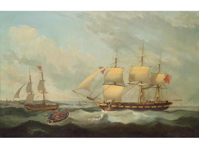 John Jenkinson (British, active 1780-1820) A British man o'war offshore with other shipping 34 x 51 1/4in (86.3 x 130.2cm)