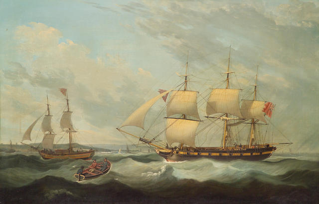 (n/a) John Jenkinson (British, active 1780-1820) A British Man o' War offshore with other shipping 34 x 51 1/4in (86.3 x 130.2 cm.)