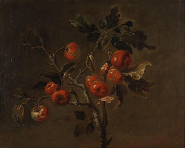 Attributed to Antoine Berjon (French, 1754-1843) A branch of ripe apples 24 3/4 x 30 3/4in