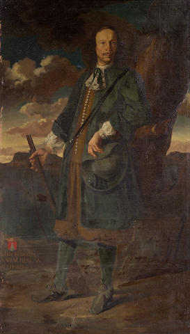 Lombard School, 17th Century A full-length portrait of a gentleman in a landscape, holding a gun 84 x 49 1/2in (213.4 x 125.8cm)