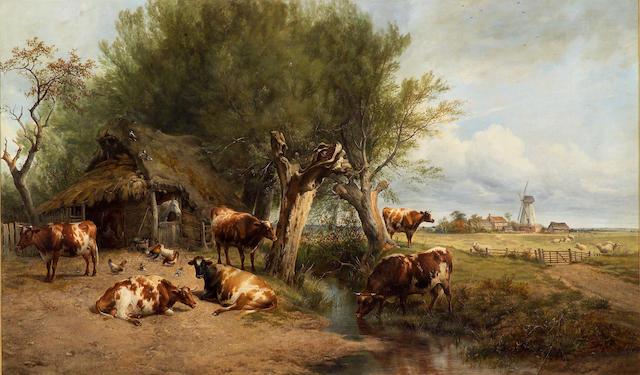 Thomas Sidney Cooper, RA (British, 1803-1902) Among the Sandwich Flats 30 1/4 x 81in (50 1/4 x 127.5cm)