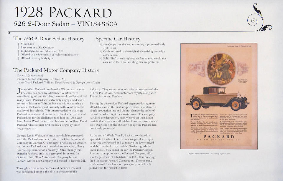 1928 Packard Model 526 Single Six Coupe  Chassis no. 134350A