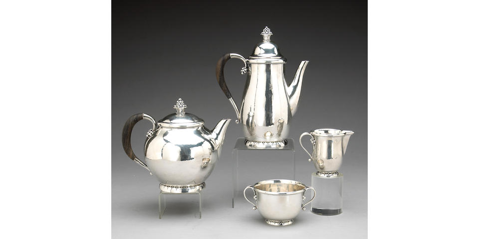 Danish Sterling and Ebony Four Piece Tea and Coffee Set by Georg Jensen