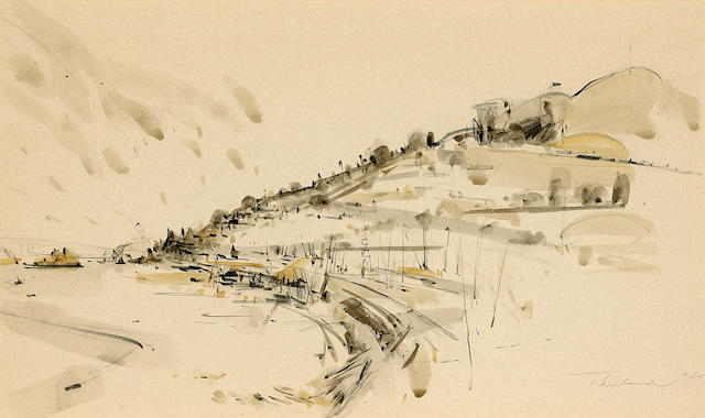 Wayne Thiebaud (American, born 1920) Sausalito, 1954 12 1/4 x 19 1/4in (31 x 49cm)
