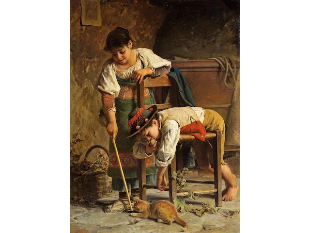 Luigi Bechi (Italian, 1830-1919) Deux petits ciociari 54 x 39 1/2in (137.2 100.4cm)