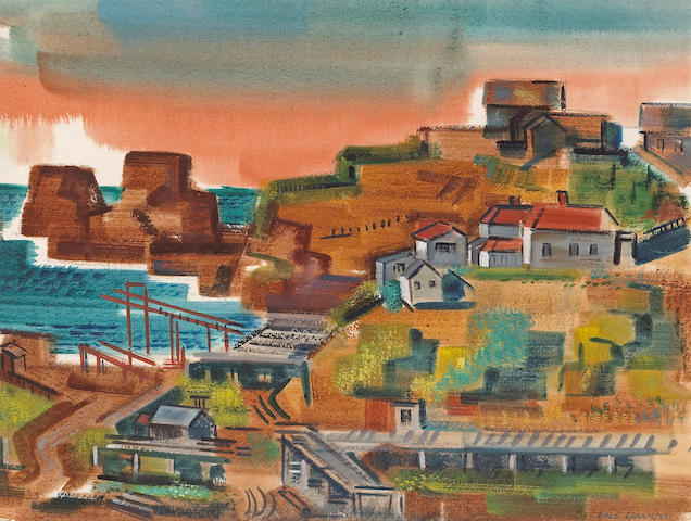 Erle Loran (American, 1905-1999) Point Richmond, 1940 15 1/4 x 19 3/4in (39 x 50cm)
