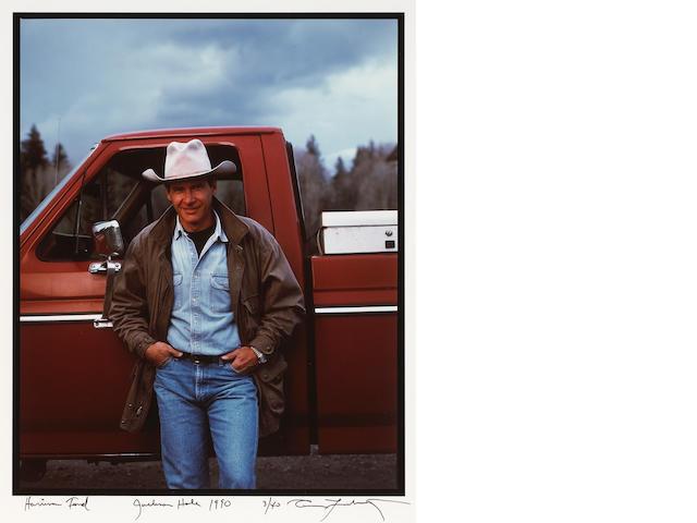 Annie Leibovitz (American, born 1949); Harrison Ford and His Ford, Jackson Hole;