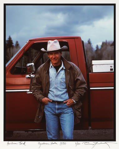Annie Leibovitz (American, born 1949); Harrison Ford and His Ford, Jackson Hole;