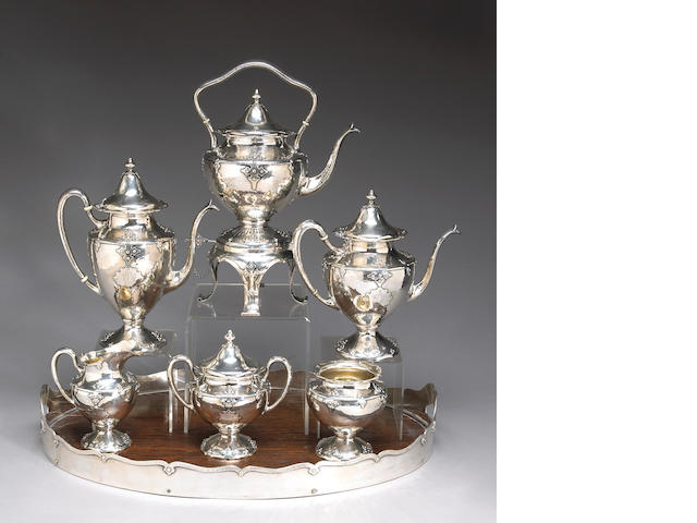 Sterling The Fourteenth Century Six Piece Tea and Coffee Set with Matching Oak Tray by Shreve & Co.