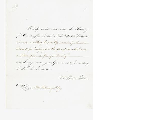 VAN BUREN, MARTIN. 1782-1862.