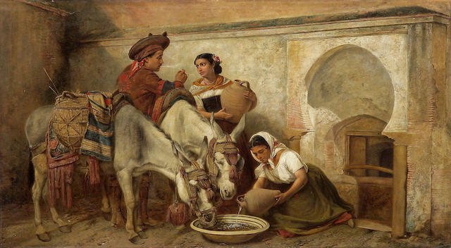 Richard Ansdell, RA (British, 1815-1885) At the well 30 x 54in (76.2 x 137.2cm)