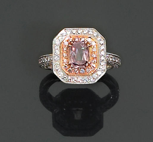 A color treated diamond and diamond ring