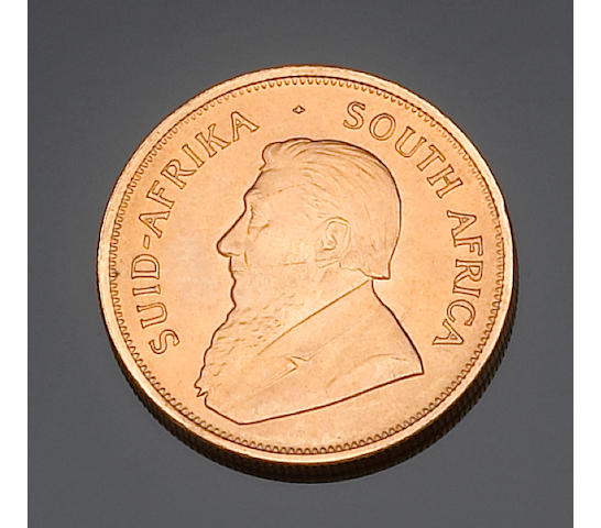 A collection of Krugerrand gold coins