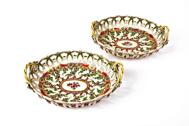 A pair of Worcester reticulated porcelain baskets