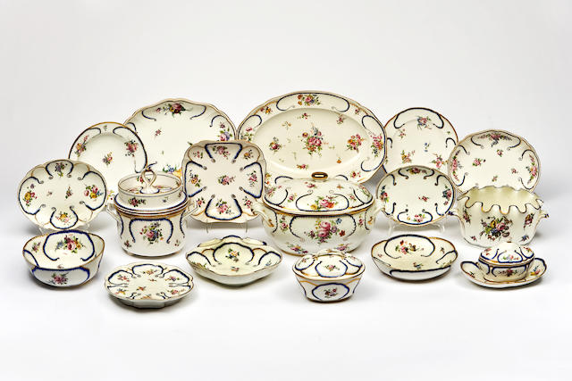 An extensive Sevres assembled porcelain dinner service in the 'Feuille de Choux' pattern