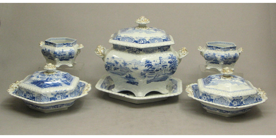 A Staffordshire blue and white transfer printed dinner service in the 'India Temple' pattern