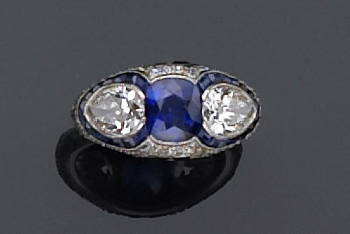 An art deco sapphire and diamond ring,