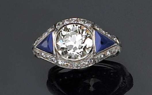 An art deco diamond and sapphire ring,
