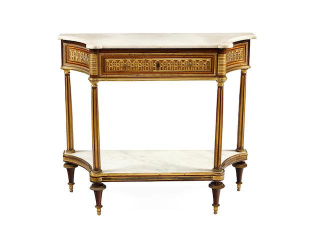 A fine Louis XVI ormolu-mounted mahogany and bois de citron console desserte