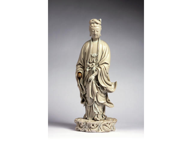 A blanc de chine porcelain figure of Guanyin