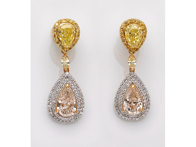 A pair of diamond and fancy colored diamond earrings