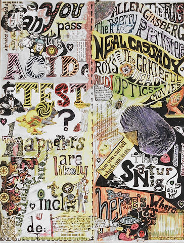 A Jerry Garcia self-colored 'Can You Pass the Acid Test' (later edition) poster gifted to Vince Welnick, 1991