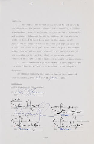 A contracts signed by Steve McQueen,