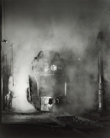 O. Winston Link (American, 1914-2000); Washing J Class 605 at Schaffer's Crossing outside Roanoke, Virginia;
