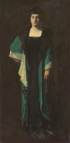 Frank Van Sloun (American, 1879-1938) Portrait of Mrs. Earl Cummings 72 x 36in
