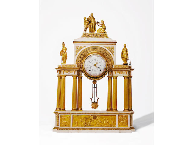 A fine Louis XVI ormolu and white marble portico clock