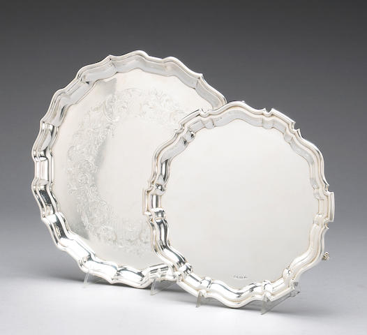 Edward VII Silver Tripod Salver After the Antique with a Later Similar Canadian Sterling Tray