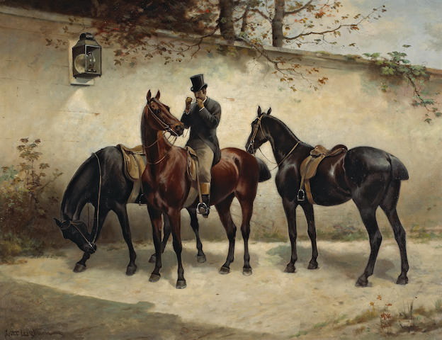 Scott Leighton, Horse and figure, oil painting