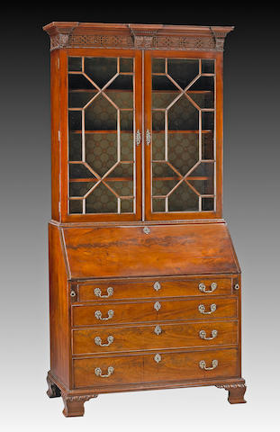 A good George III mahogany secretary bookcase