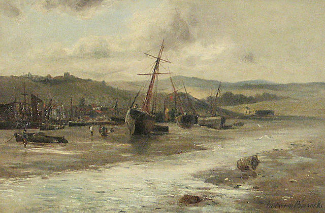 Gustave de Breanski (British, Circa 1856-1898) In Pool Harbour 12 x 18in