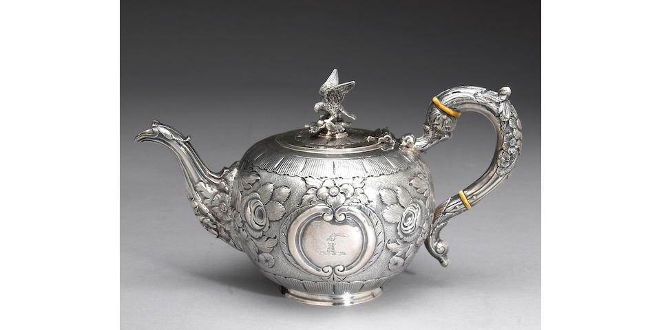 Irish George II Silver Teapot, Later Decorated