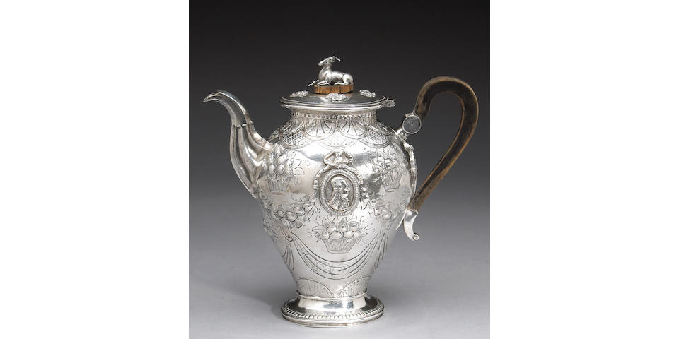 Continental Silver and Wood Medallion Coffee Pot