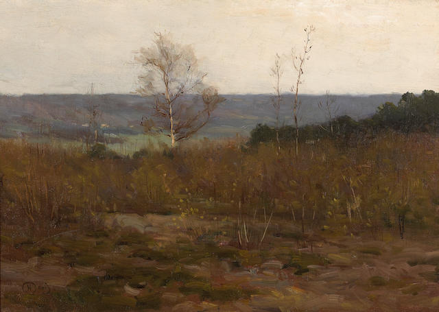 Charles Harold  Davis (American, 1856-1933) Connecticut River Valley 12 3/4 x 17 1/2 inches